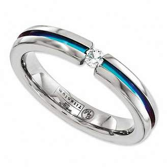 Zales Radiance by Edward Mirell 3.0mm White Sapphire Anodized Titanium Wedding Band