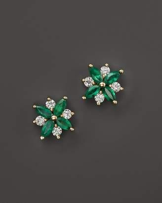 Bloomingdale's Emerald and Diamond Flower Stud Earrings in 14K Yellow Gold - 100% Exclusive
