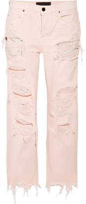 Alexander Wang Rival Cropped Distressed High-rise Straight-leg Jeans - Baby pink