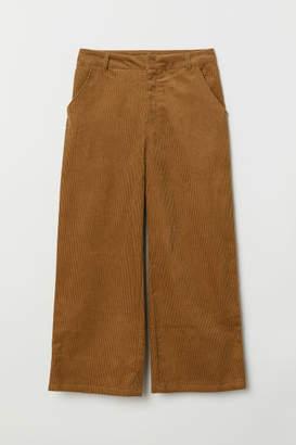H&M Wide-leg Corduroy Pants - Beige