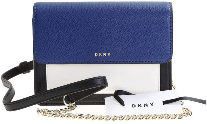 DKNY Blue, Black And White Leather Bryant Park Miniflap Bag