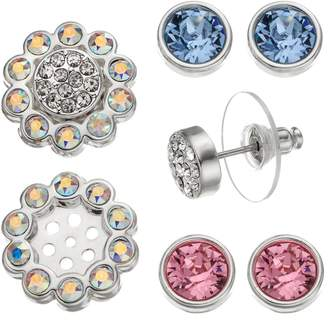 Swarovski Crystal Colors Silver Tone Interchangeable Flower Jacket & Stud Earring Set - Made with Crystals