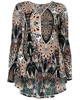 Izabel London Curve Peacok Print Top