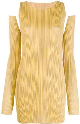 Pleats Please Issey Miyake shoulder cut out mini dress