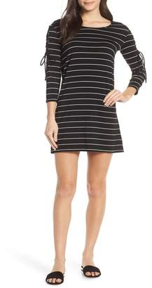 BB Dakota Here Kitty, Kitty Stripe Lace-Up Sleeve Dress