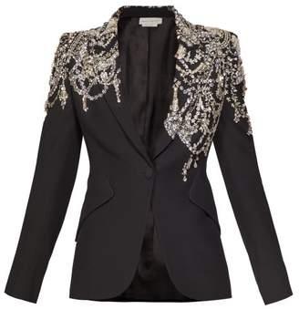 Alexander McQueen Crystal Embellished Single Breasted Crepe Blazer - Womens - Black