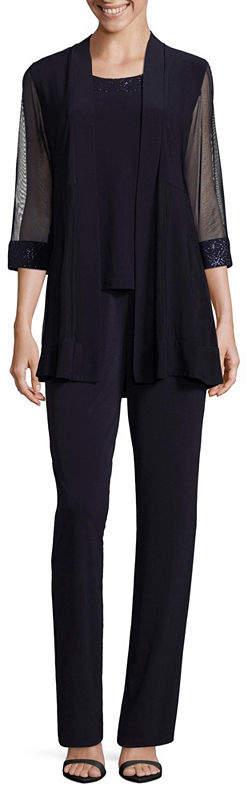 R & M Richards 3/4 Sleeve Embellished Jumper-Petite