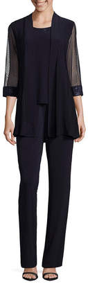 R & M Richards 3/4 Sleeve Embellished Pantsuit-Petite