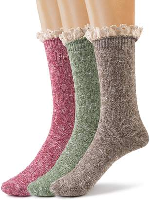 Silky Toes Women's Vintage Thick Warm Winter Casual Boot Socks with Lace 3 Pk