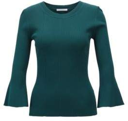 BOSS Hugo Slim-fit sweater in technical fabric flared sleeves S Open Green