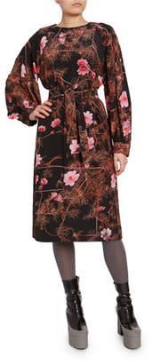 Dries Van Noten Floral-Print Belted Midi Dress