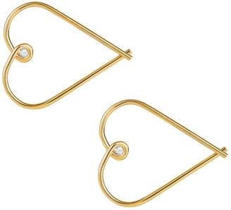 Lee Renee Heart Hoop Earrings - Diamonds & Gold