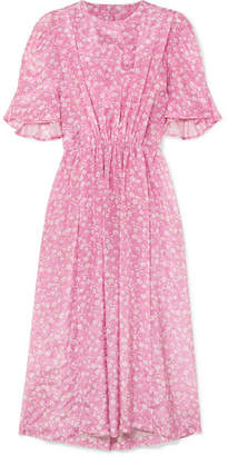 Pushbutton - Gathered Floral-print Georgette Midi Dress - Pink