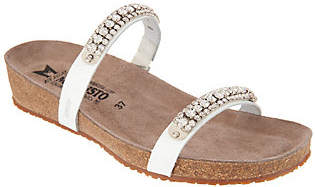 Mephisto Leather Double Strap Rhinestone Slides- Ivana