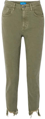 MiH Jeans Mimi Frayed High-rise Straight-leg Jeans - Green