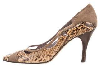 Anya Hindmarch Suede-Trimmed Python Pumps