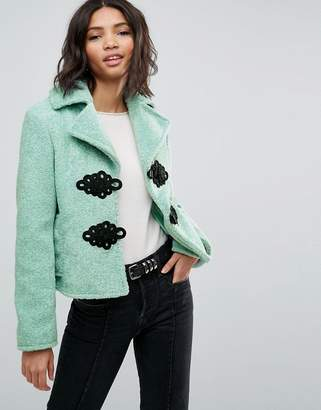 Asos Design Borg Coat with Frogging Detail
