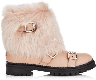Jimmy Choo HANK FLAT Ballet Pink Grainy Leather Flat Boots with Ballet Pink Shearling