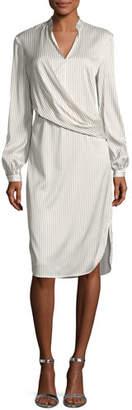St. John Vertical Striped Draped Dress