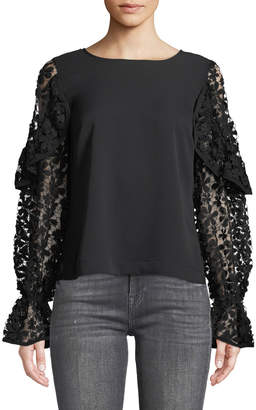 Marled By Reunited Ruffled-Lace Long-Sleeve Blouse