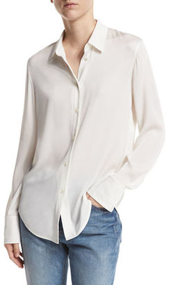 Vince Slim-Fit Stretch-Silk Blouse $295 thestylecure.com