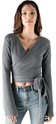 Rebel Canyon Young Women's Bell Sleeve Thermal Wrap Front Ballet Top