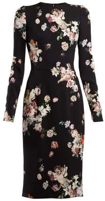 Dolce & Gabbana Angel And Floral Print Midi Dress - Womens - Black Print