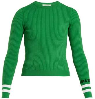 Valentino Crew Neck Ribbed Knit Sweater - Womens - Green Multi