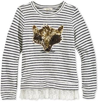 Monteau Striped Fox Lace-Hem Sweat Top, Big Girls (7-16) $38 thestylecure.com