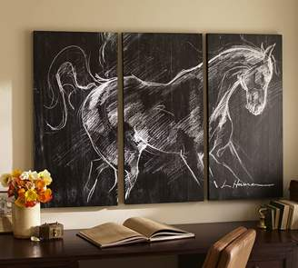 Pottery Barn Planked Horse Triptych Wall Art