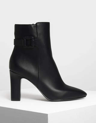 Charles & Keith Wrapped Buckle Detail Calf Boots