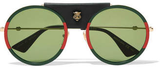 Gucci Round-frame Striped Acetate And Textured-leather Sunglasses - Green
