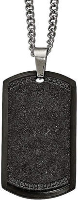FINE JEWELRY Mens Cubic Zirconia Stainless Steel Black Ion-Plated Cross Dog Tag Pendant