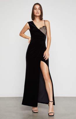 BCBGMAXAZRIA Lace-Trimmed Velvet Gown