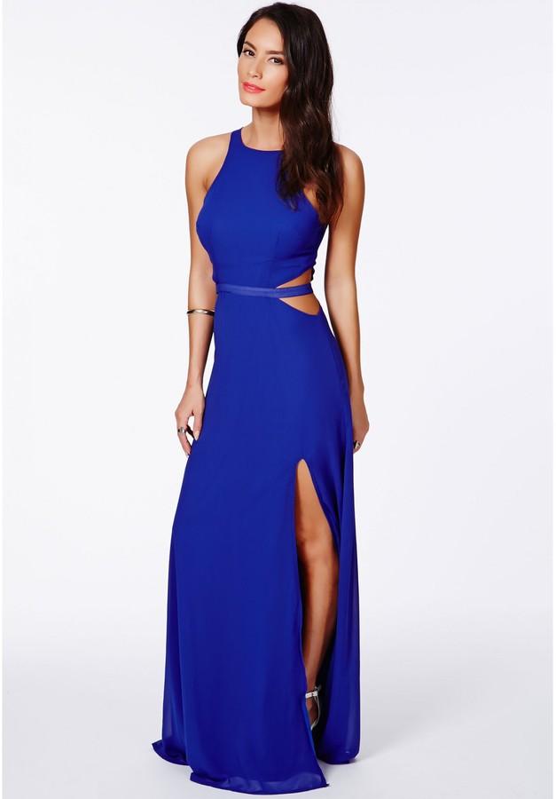 Missguided Anthea Cut Out Split Maxi Dress In Cobalt Blue