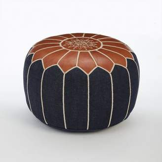 west elm Moroccan Denim + Leather Pouf - Small