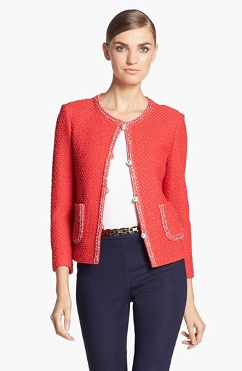 St. John Metallic Trim Diamond Knit Jacket
