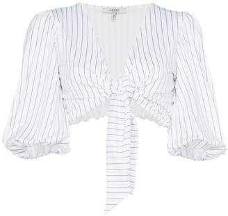 Ganni White stripe crop top with puff sleeves
