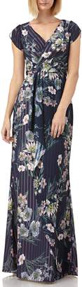 Kay Unger Floral Stripe Tulip Sleeve Chiffon Gown
