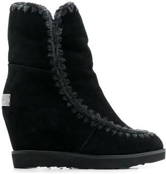 Mou French Toe Wedge Short boots