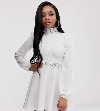 PrettyLittleThing Petite Petite exclusive skater dress with lace inserts and balloon sleeves in white
