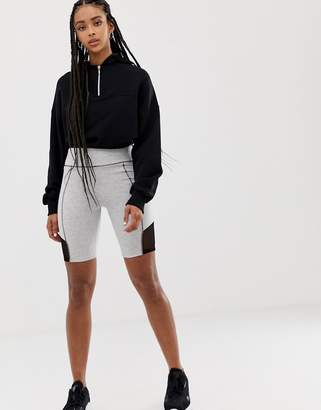 Asos DESIGN contrast panel legging short with deep waistband