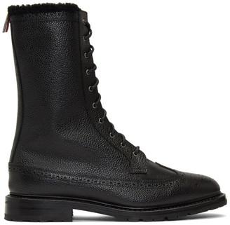 Thom Browne Black Shearling Longwing Commando Boots