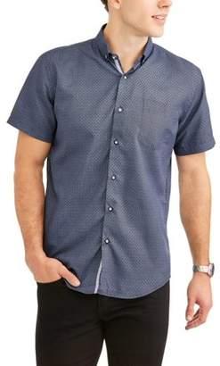 Generic Big Men's Geometric Printed Microfiber Short Sleeve Button-Up Shirt