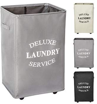 Laundry by Shelli Segal WOWLIVE Large Rolling Laundry Hamper Basket Wheels Durable Dirty Clothes Bag Collapsible Rectangular Washing Bin (Grey)