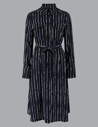 Marks and Spencer Pure Silk Striped Long Sleeve Shirt Dress