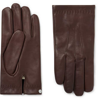 Mulberry Cashmere-Lined Leather Gloves - Men - Dark brown