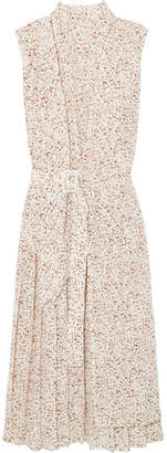 Joseph Birley Belted Printed Silk Midi Dress - Cream