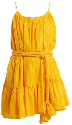 Rhode Resort - Nala Tie Waist Cotton Dress - Womens - Yellow