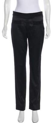Chanel Suede-Trimmed Mid-Rise Pants